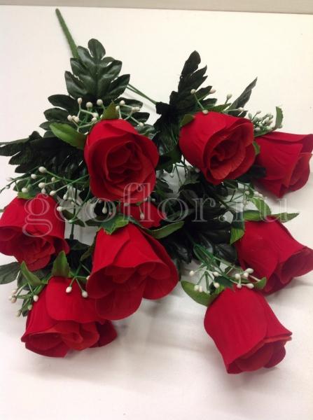 Букет роз бутонов бархатных, 9 г