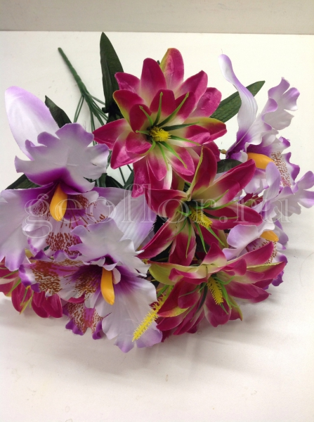 Букет георгинов и орхидей, композиция, 11 г