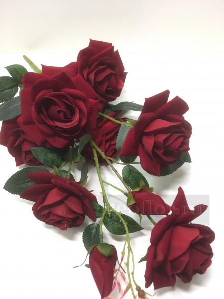 Букет роз бархатных, 7 г+2 б