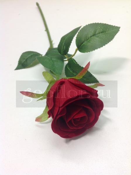 Одиночная роза бутон бархатная